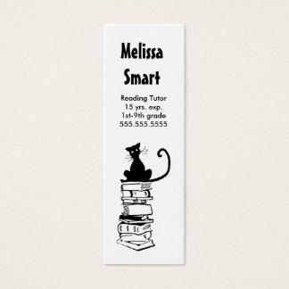 Cat on Books Skinny Business Card Teacher Tutor