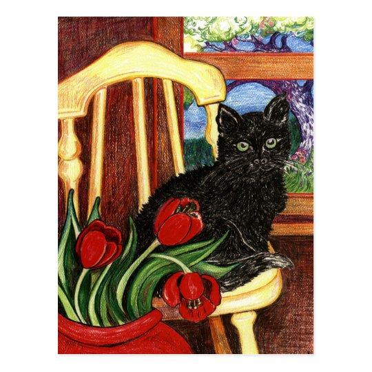 Cat on Chair Postcard