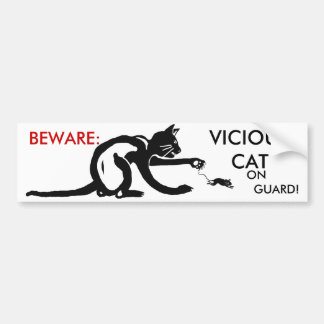 CAT ON GUARD BUMPER STICKER
