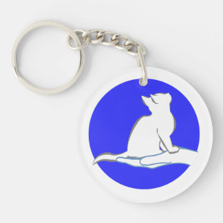 Cat on hand, blue circle Double-Sided round acrylic keychain