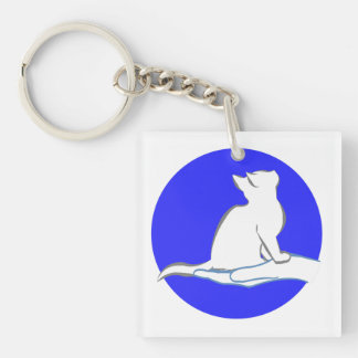 Cat on hand, blue circle Double-Sided square acrylic keychain