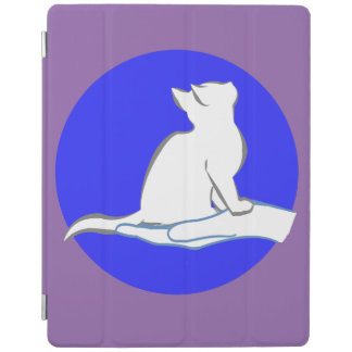 Cat on hand, blue circle iPad cover