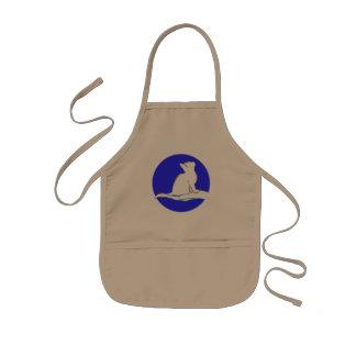 Cat on hand, blue circle kids apron
