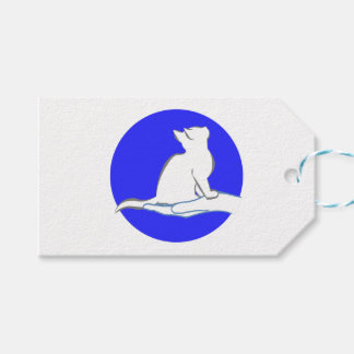 Cat on hand, blue circle pack of gift tags
