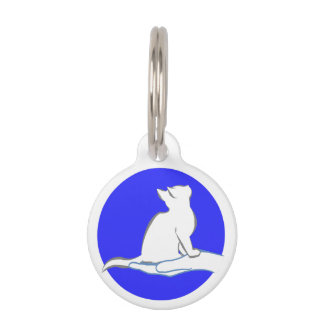 Cat on hand, blue circle pet ID tag
