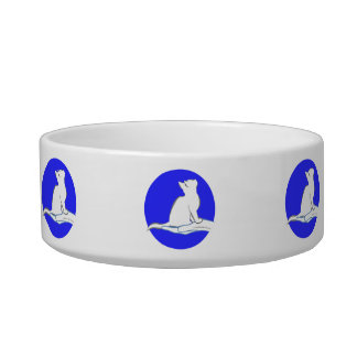 Cat on hand, text, blue circle bowl