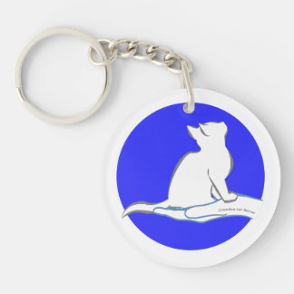 Cat on hand, text, blue circle Double-Sided round acrylic keychain