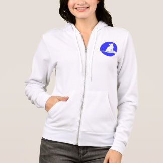 Cat on hand, text, blue circle hoodie