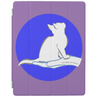 Cat on hand, text, blue circle iPad cover