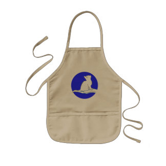 Cat on hand, text, blue circle kids apron