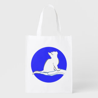 Cat on hand, text, blue circle reusable grocery bag