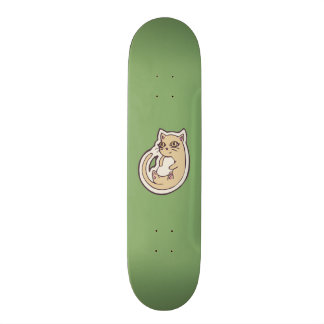 Cat On Its Back Cute White Belly Drawing Design Custom Skateboard