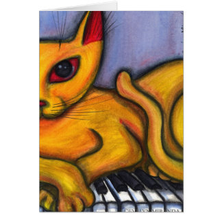 Cat On Piano Card
