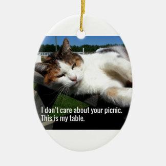 Cat On Picnic Table Ceramic Ornament