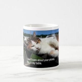 Cat On Picnic Table Coffee Mug