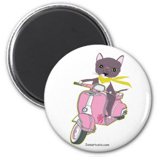 Cat On Pink   2 Inch Round Magnet