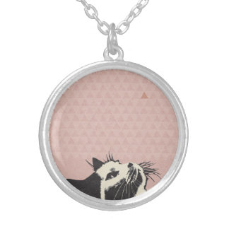 Cat on pink playing silver plated necklace