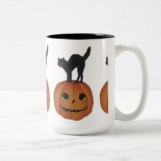 Cat on Pumpkin Two-Tone Coffee Mug