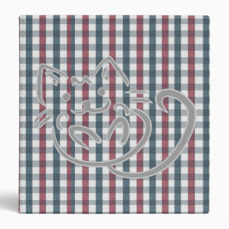 Cat on Red and Blue Plaid Binder