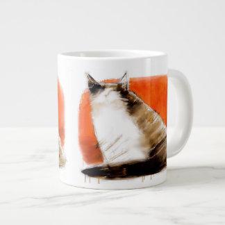 Cat on red jumbo mug