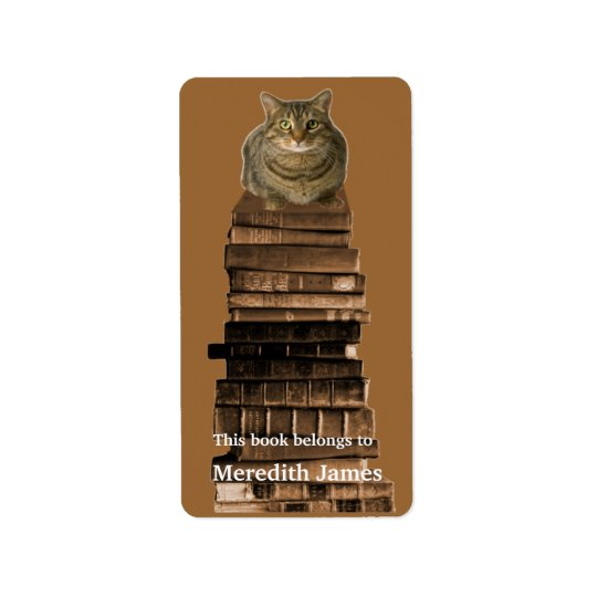 Cat on Stack of Books  Bookplate