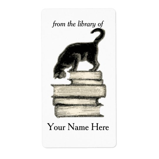Cat on Stack of Books of Bookplate ..