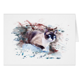 Cat on stone - work of art, water color, card