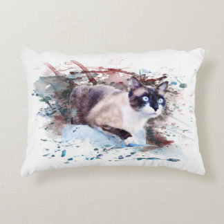 Cat on stone - work of art, water color, decorative pillow