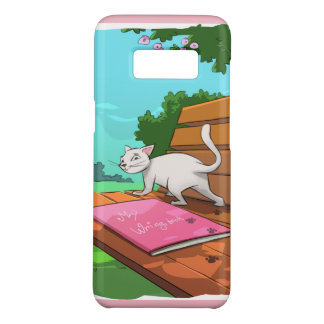 Cat on the Bench mobile phone cover for Cat Lovers