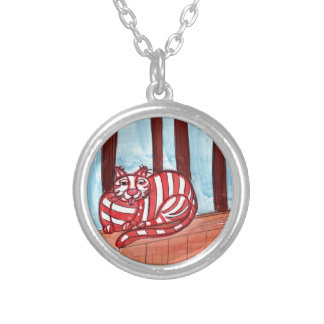 Cat on the Fence Silver Plated Necklace