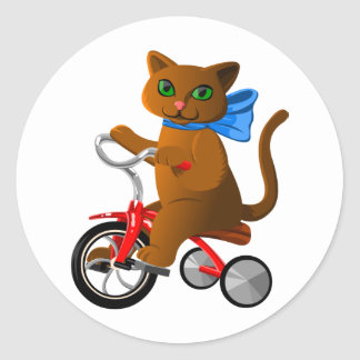 Cat on Tricycle Round Sticker