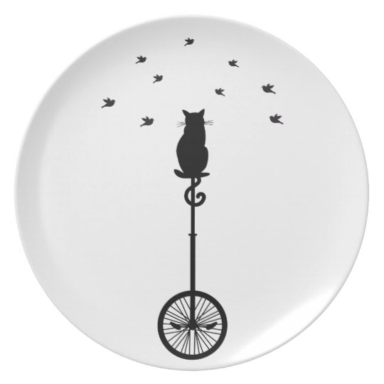 cat on vintage bicycle with birds plate