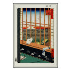 Cat on Window by Hiroshige 歌川広重 Poster