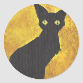 Cat on Yellow Round Sticker