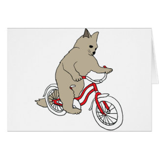 Cat On Youth Bike Card