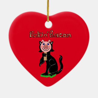 Cat or Pig? Fakin' Bacon Ceramic Heart Ornament