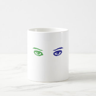 Cat or Woman? Blue and Green eyes Coffee Mug