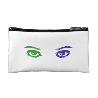 Cat or Woman? Blue and Green eyes Cosmetic Bags