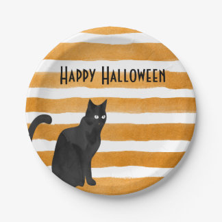 Cat orange Halloween Plate 7 Inch Paper Plate