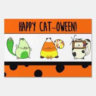 Cat-oween cartoon cat Halloween Yard Sign