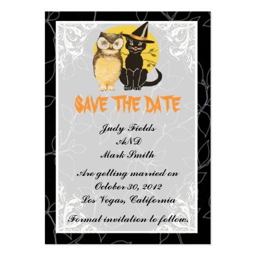 Cat & Owl Halloween Wedding Save The Date Card Business Card Template