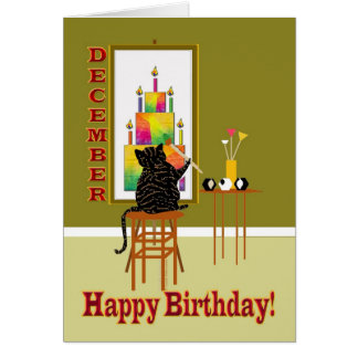 Cat Painting Birthday Cake DECEMBER Card