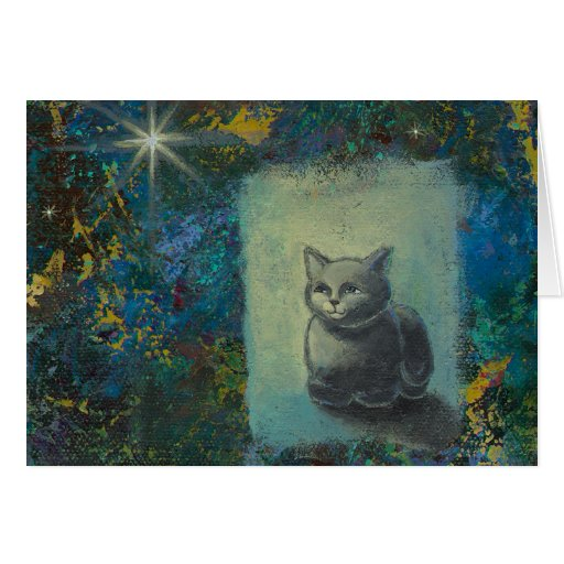 Cat painting - Oh Wise and Excellent Kitty art Greeting Card