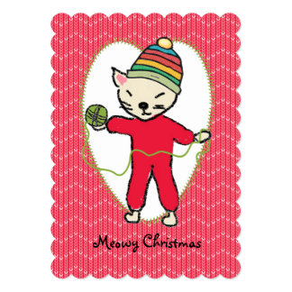 Cat pajamas yarn knitting crochet Christmas Card