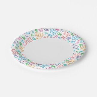 cat pattern paper plate