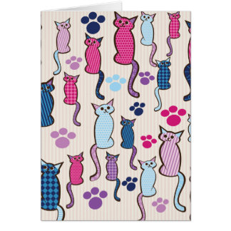 Cat Pattern Pink Blue Greeting Card