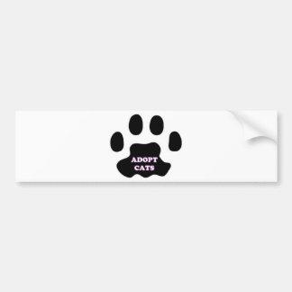 Cat Paw Adopt Cats with Cute Lettering FUN! Bumper Sticker