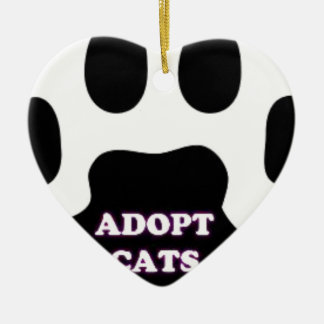 Cat Paw Adopt Cats with Cute Lettering FUN! Ceramic Heart Ornament