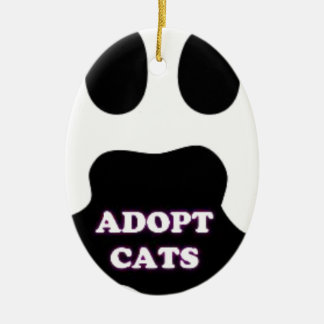 Cat Paw Adopt Cats with Cute Lettering FUN! Ceramic Oval Ornament