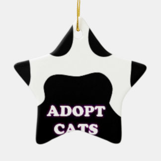 Cat Paw Adopt Cats with Cute Lettering FUN! Ceramic Star Ornament